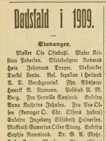 Dødsfall i 1909