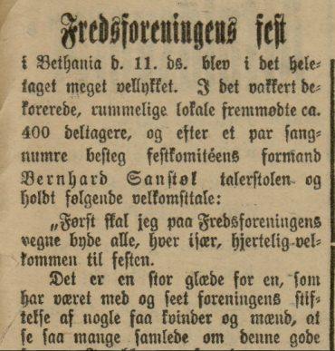 Stavanger Fredsforening siftet 19-11-1894.