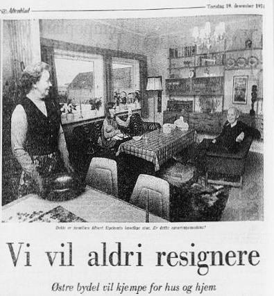 Tordis og Birger Pedersen vil ikke flytte fra Pedersgata – 1974