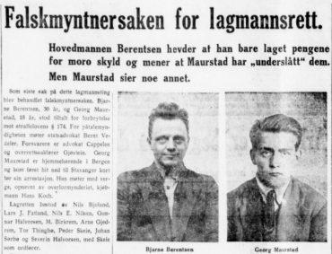 Falskmyntere i Pedersgata. 1934