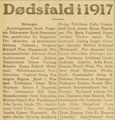 Dødsfall i 1917