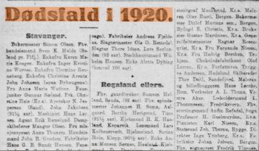 Dødsfall i 1920