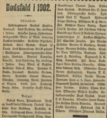 Dødsfall i 1902-1903-1904