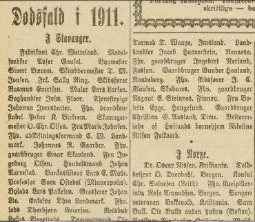 Dødsfall i 1911