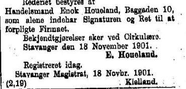 Kunngjøringer om rederier i Stavanger